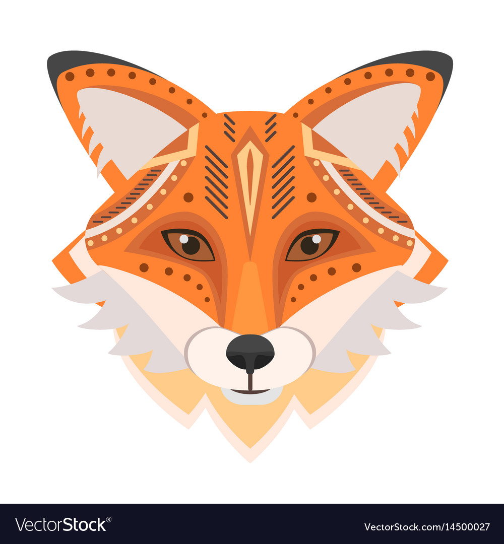 Fox head logo decorative emblem