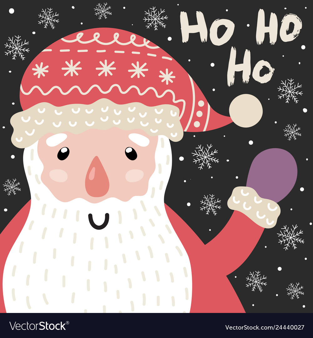 Ho ho ho christmas card with cute santa claus and