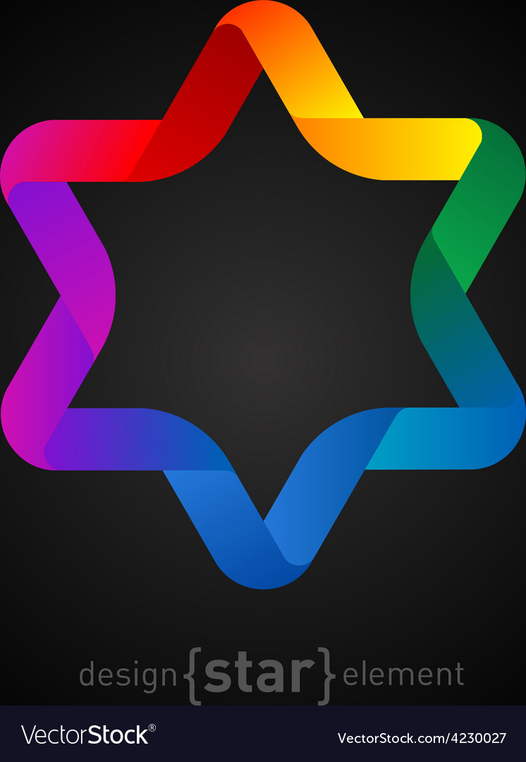 Origami colorfull Star on black background vector image