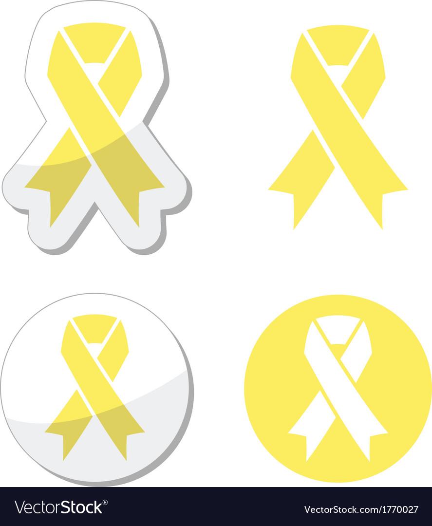 Pale yellow ribbon -ymbol of spina bifida vector image