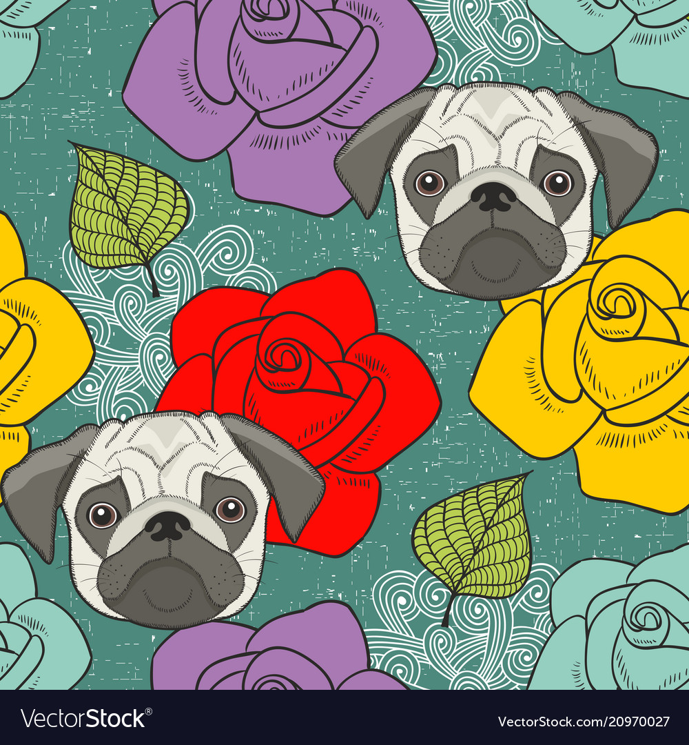 Pugs and flowers seamless wallpaper