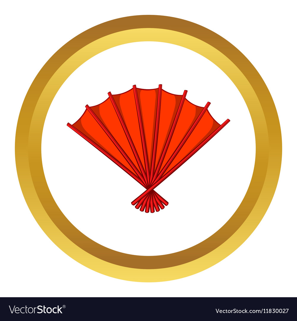 Red open hand fan icon vector image