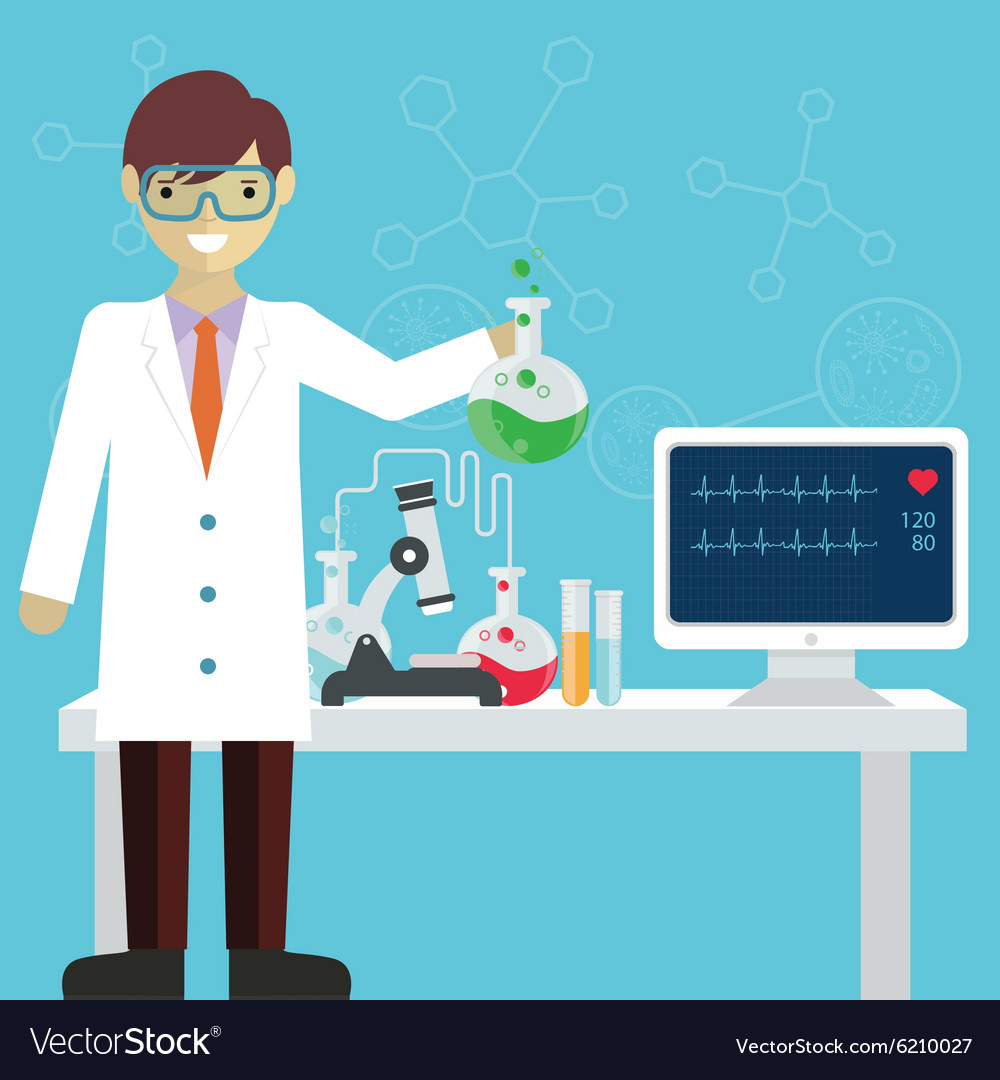 Scientist In Science Education Research Lab With Vector Image