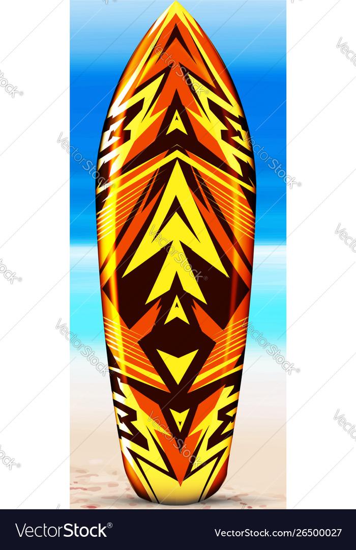 Surfboard on beach against background