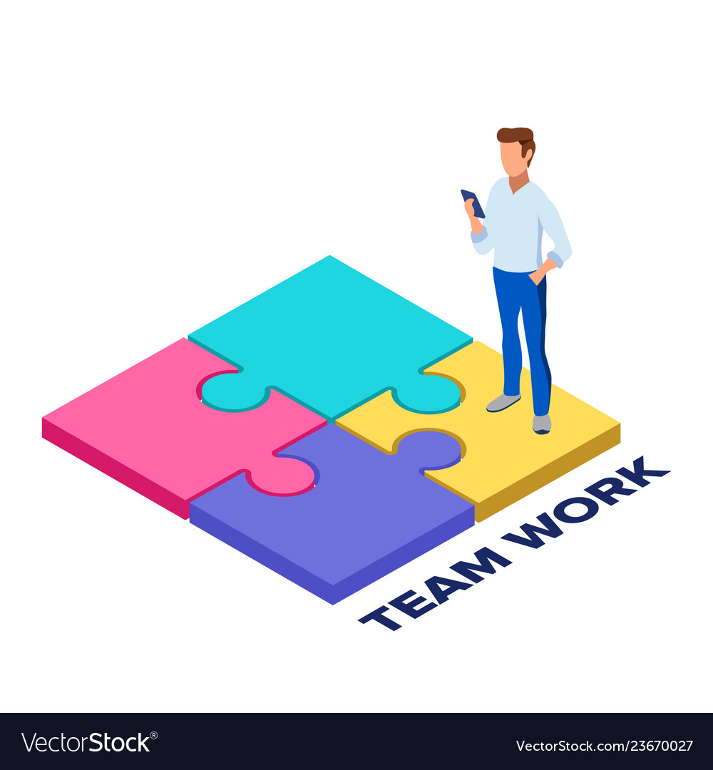 Team work concept collect a puzzle concept for