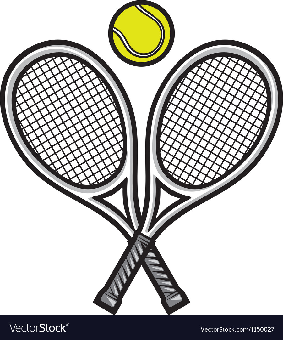 Tennis Rackets And Ball Royalty Free Vector Image