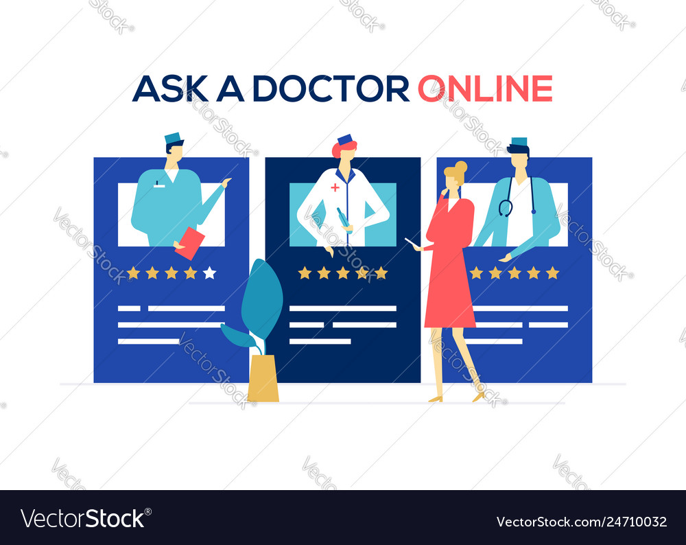 Ask a doctor online - colorful flat design style