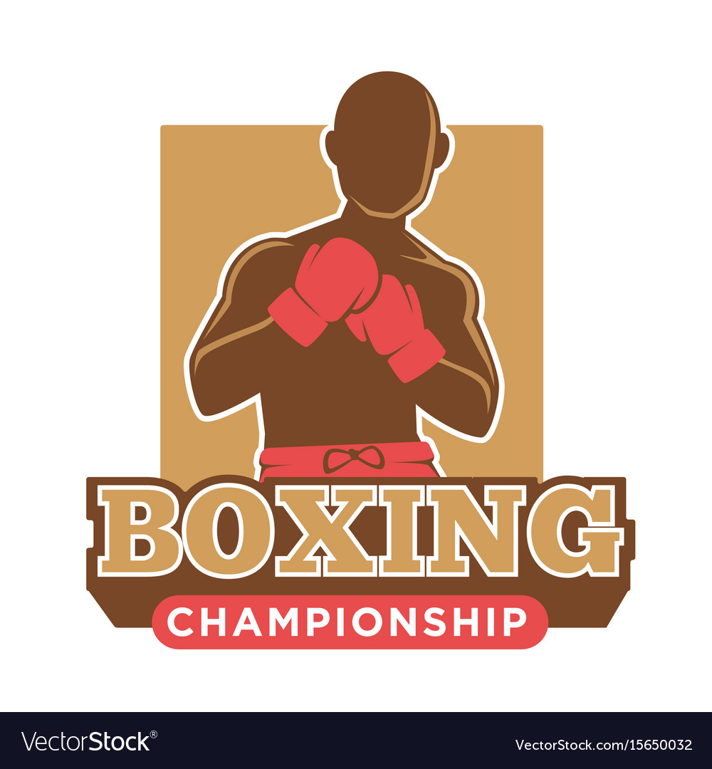 Big professional boxing championship logotype with