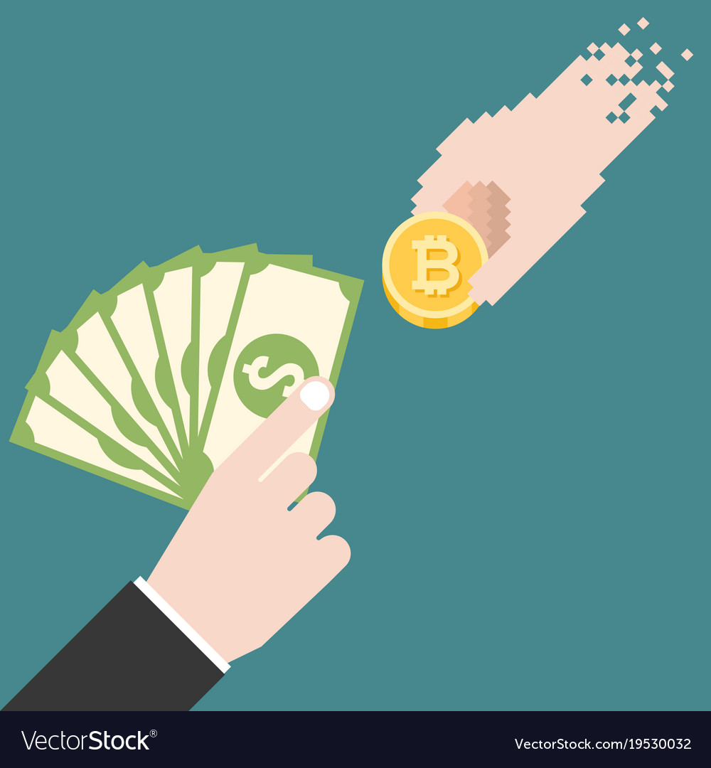 Business Man Hand With Dollars Bank Exchange Money Vector Image