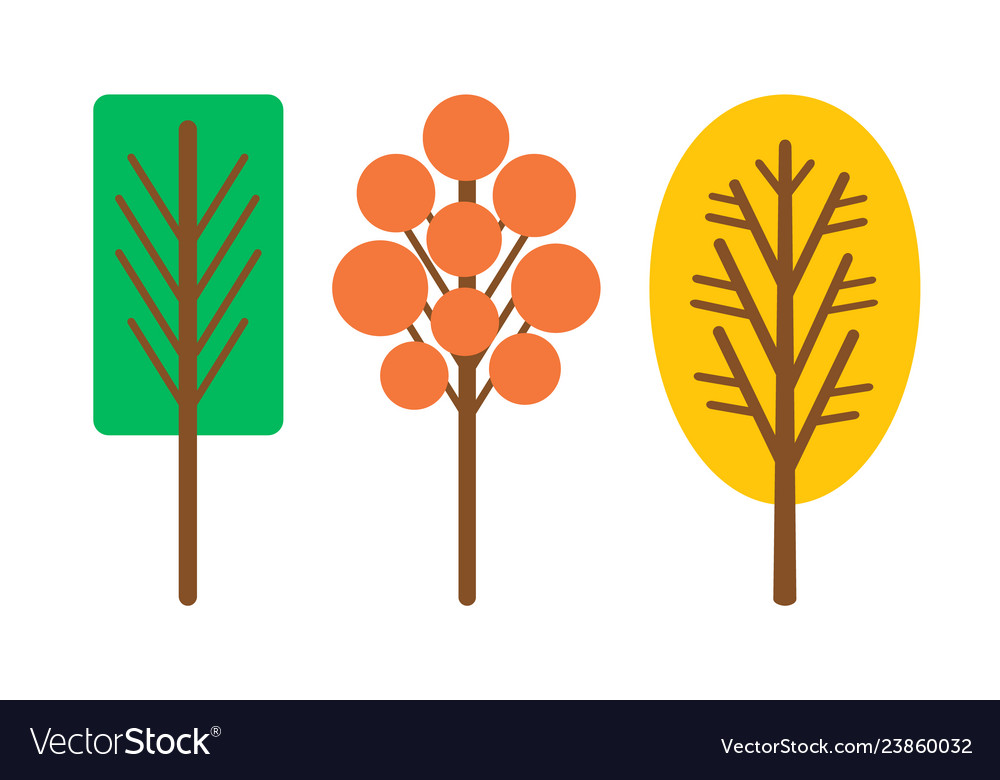 Cartoon style abstract trees isolated icons