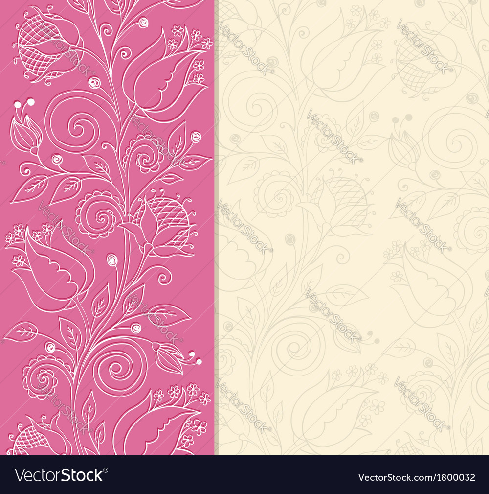 Decorative pink background with hand drawn flowers