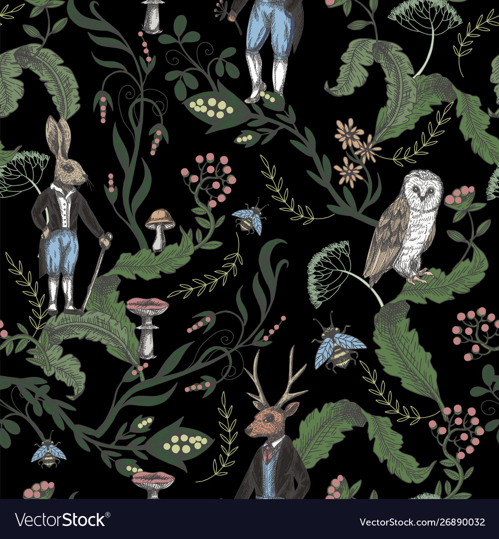 Fairytale graphic seamless pattern with forest