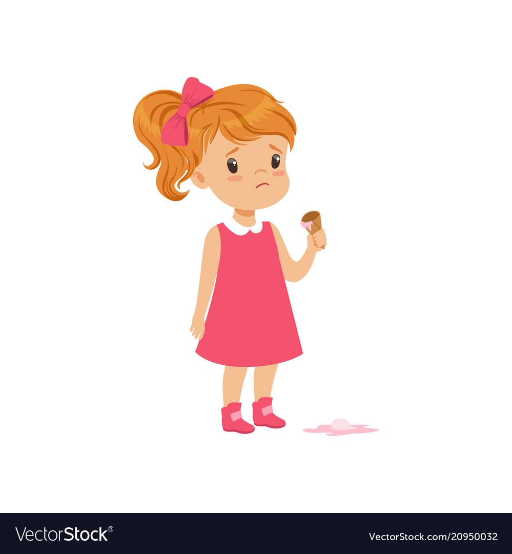 Girl feeling unhappy with ice cream drop