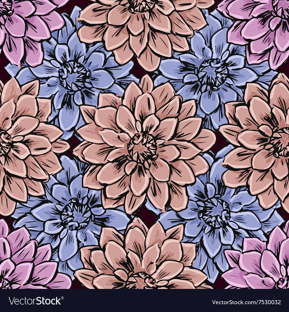 Hand draw seamless floral pattern vector image