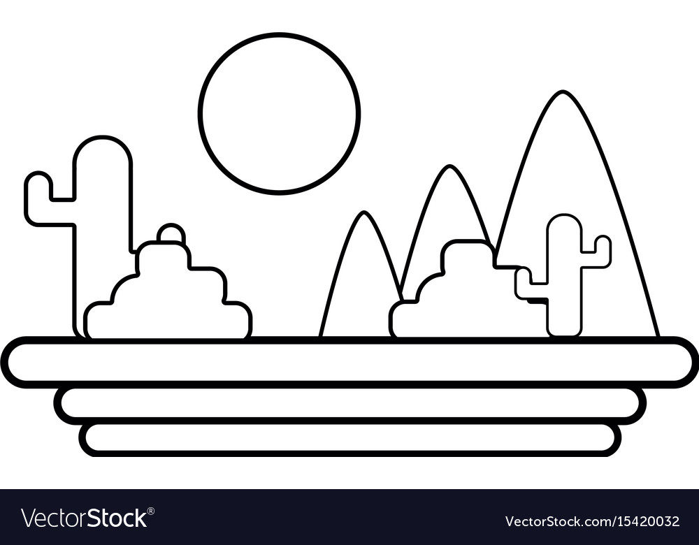 Line mountains with cactus and plants with sun vector image