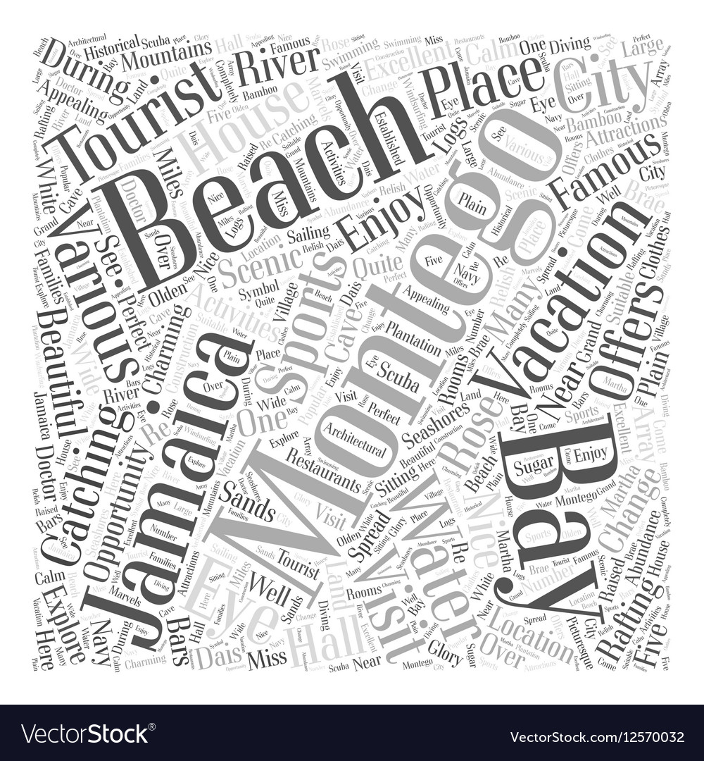 Montego bay jamaica vacation Word Cloud Concept