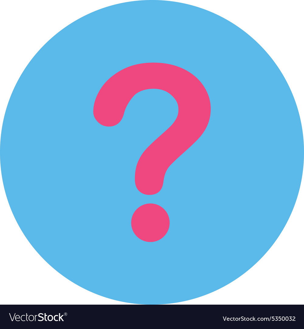 Question flat pink and blue colors round button Vector Image