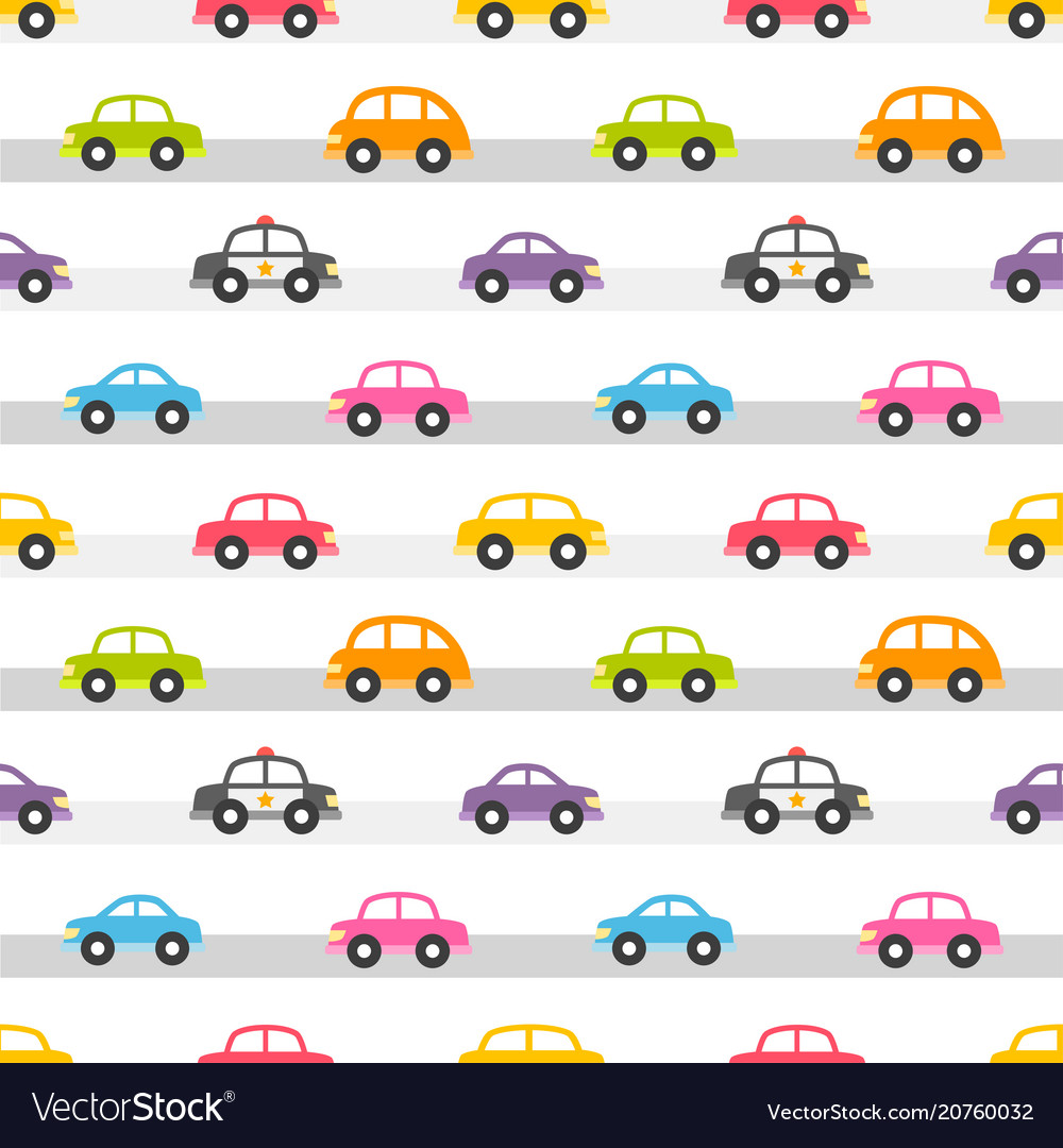 Seamless pattern with colorful cars on road