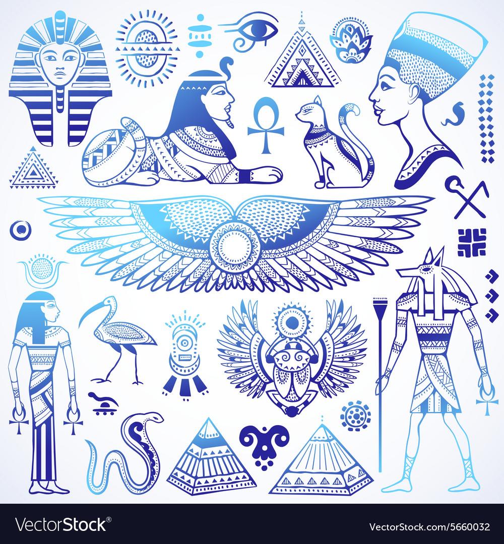 Set of isolated Egypt symbols