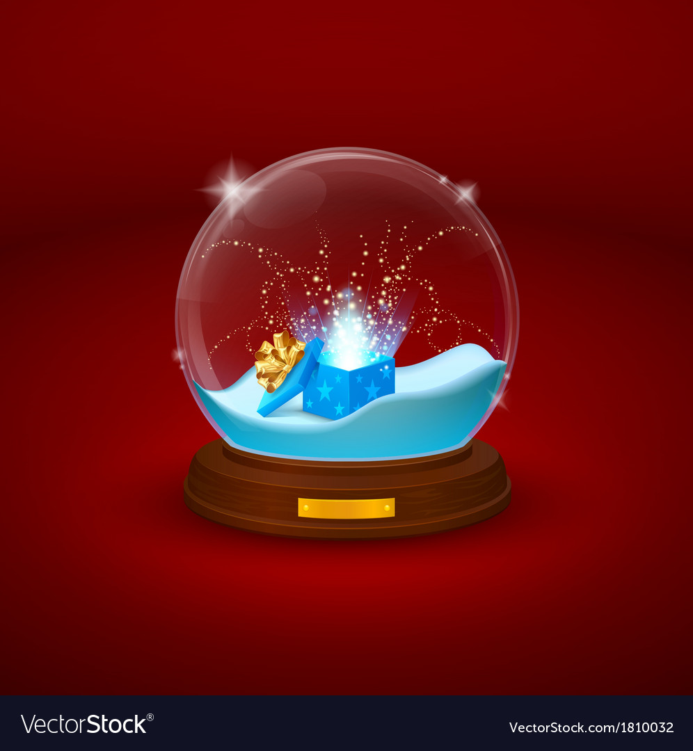Shimmering glass bowl statuette with snow and open vector image