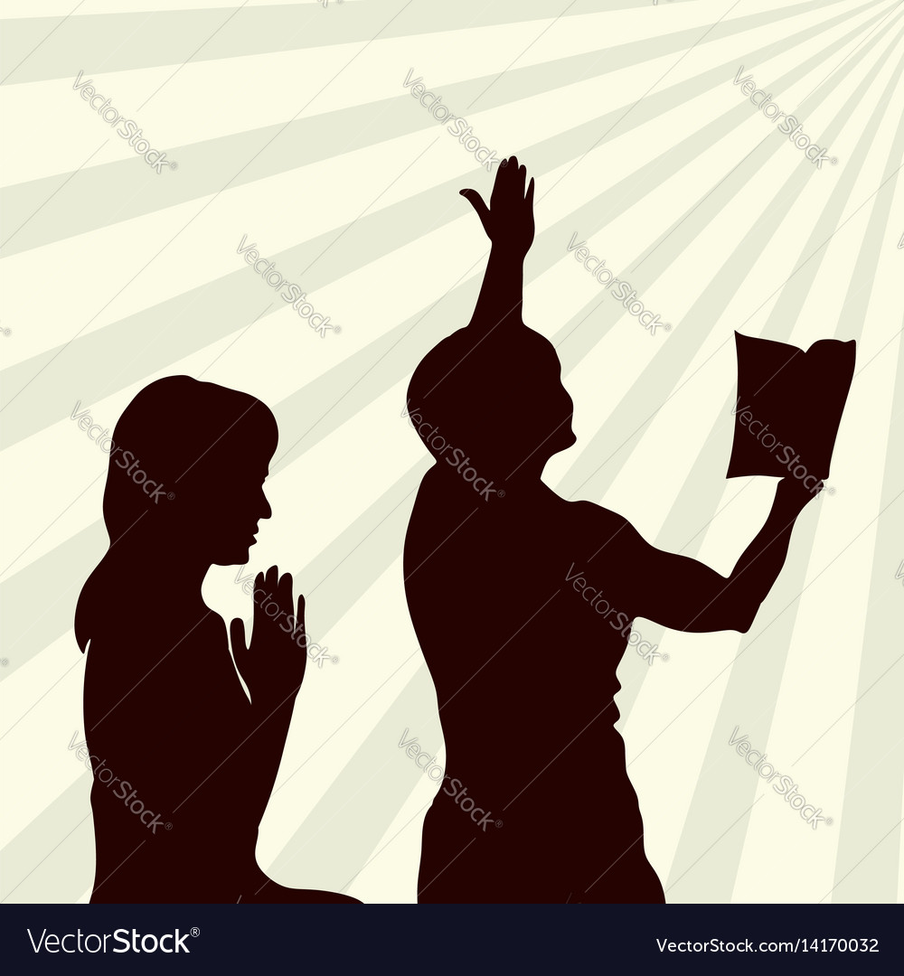Silhouette of a praying woman vector image