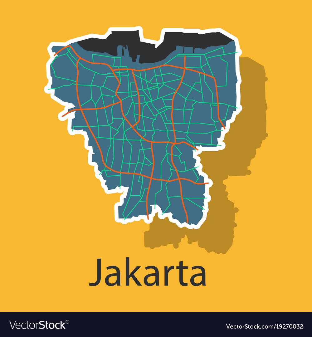 Map Jakarta.Sticker Outline Map Of The Indonesian Capital Vector Image