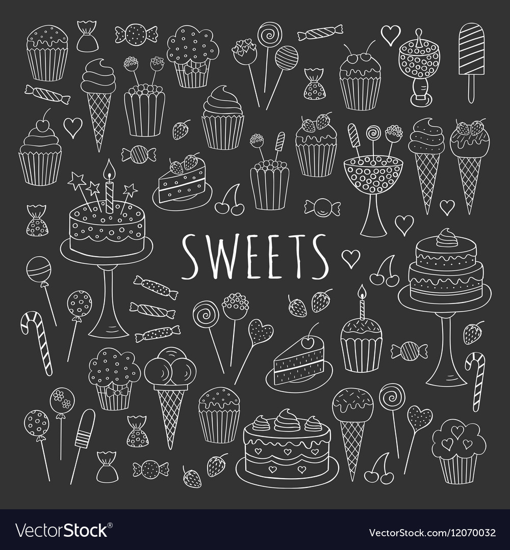 Sweets set icons hand drawn doodle