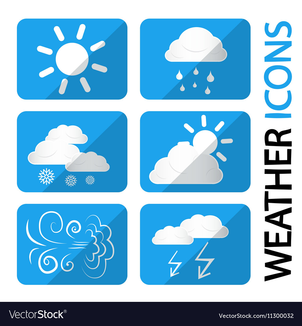 Weather Icons Set Symbols with Clouds Sun and
