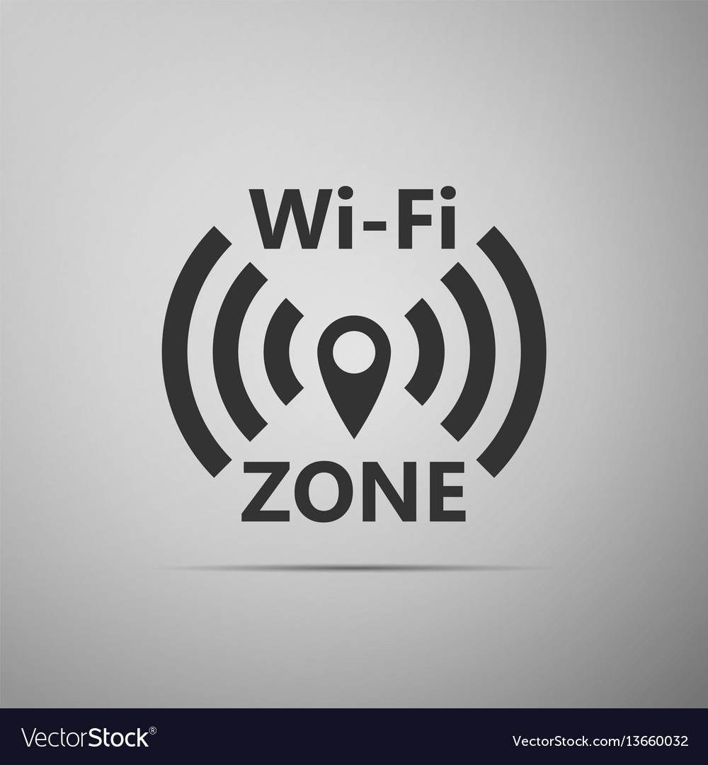 Wi-fi network flat icon on grey background