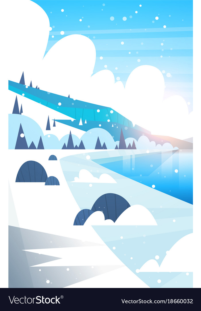 Winter landscape frozen river and mountain hills vector image