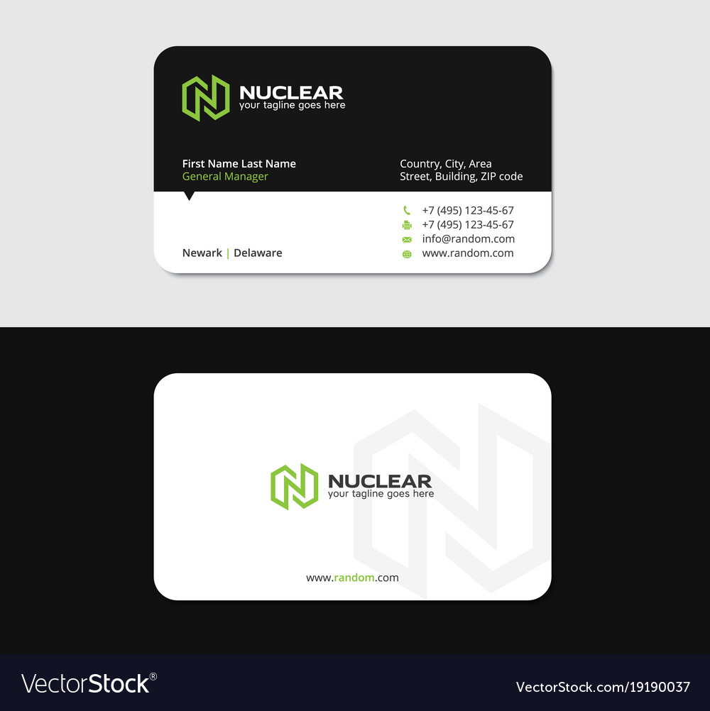 Business card with n letter green energy vector image reheart
