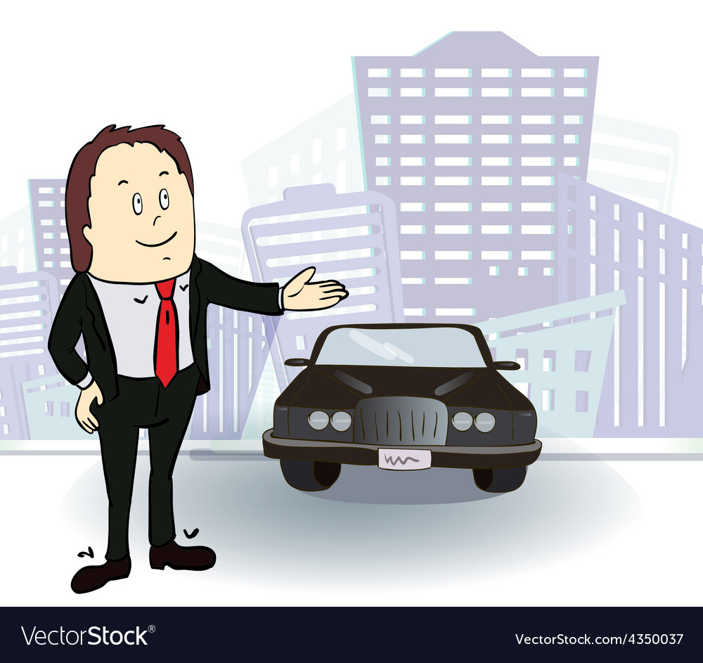 Businessman and car Rich man in the city