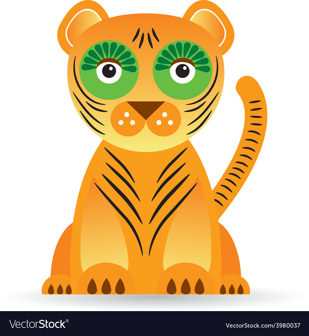 Cartoon of a tiger on a white background