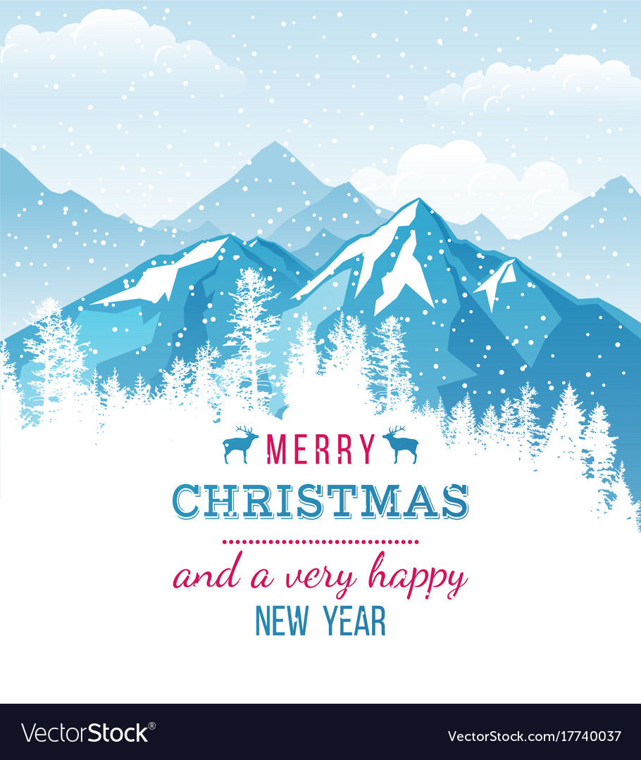 Christmas and new year card with landscape