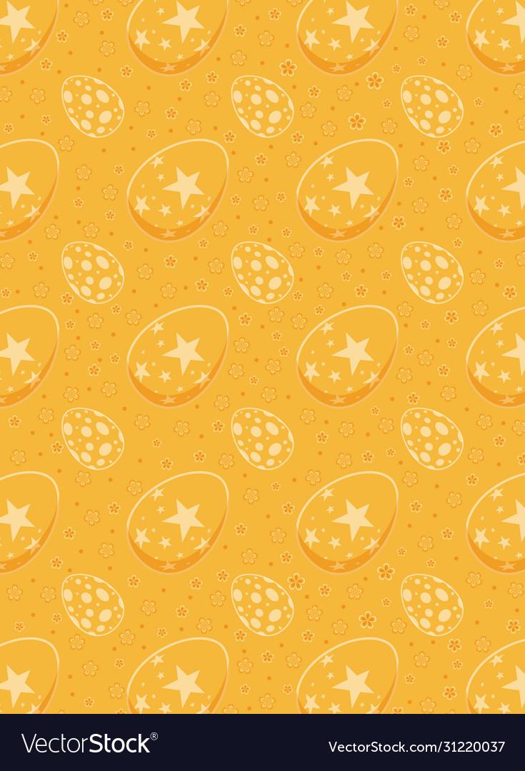 Easter eggs seamless pattern on orange