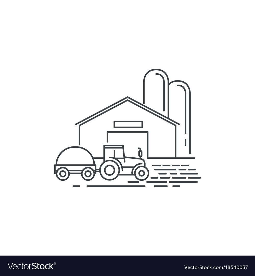 Farm barn and tractor line icon outline