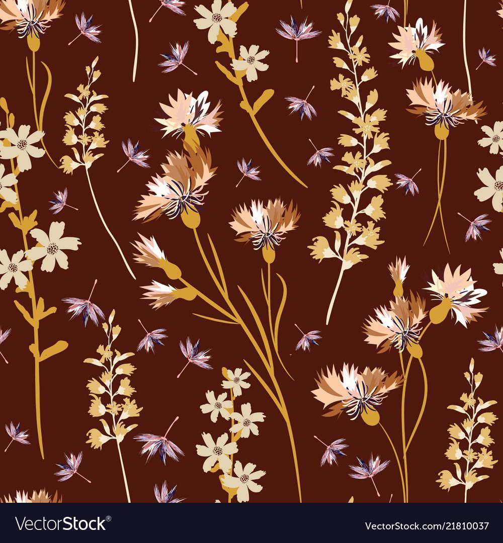 Field-flowers leaves and herbals seamless