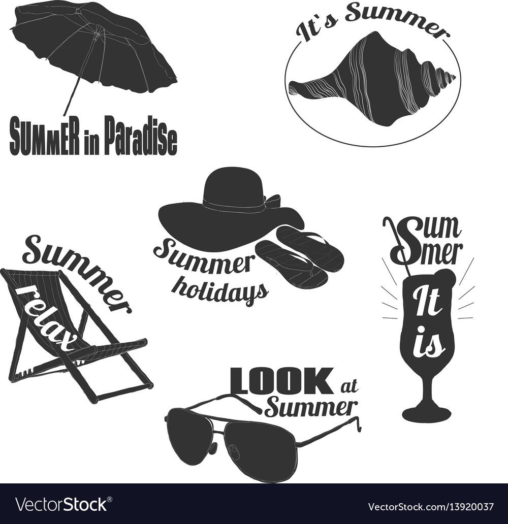 Hand drawn summer emblems set vector image