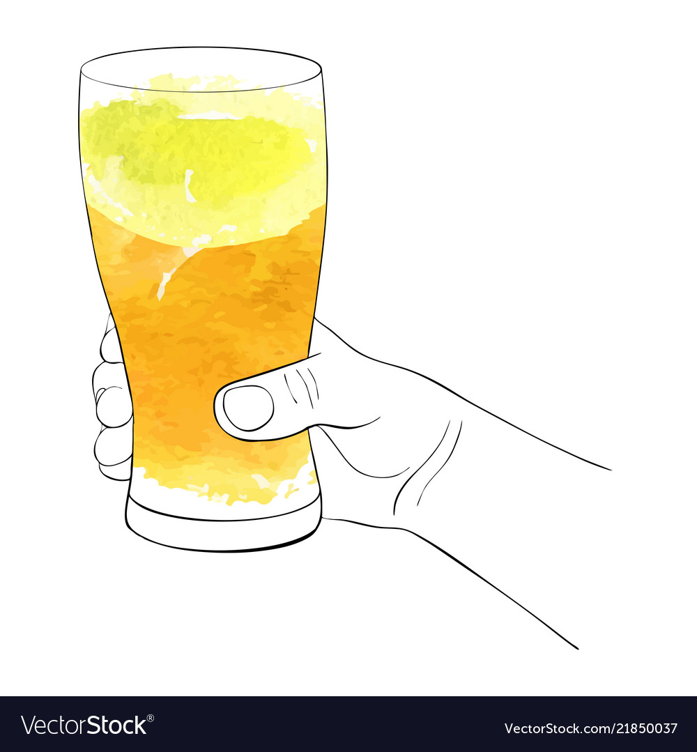 Hand with glass for beer