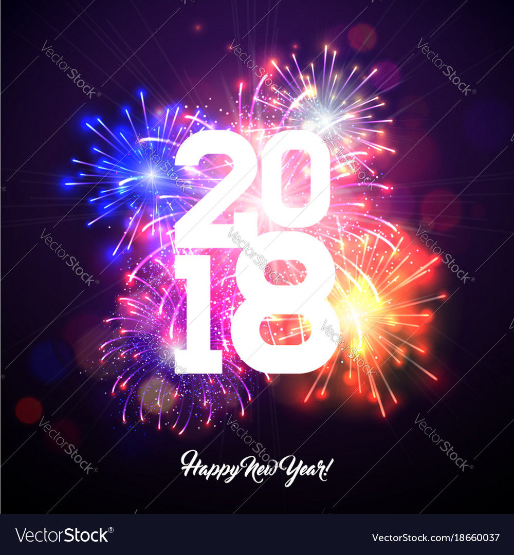Happy new year 2018 with firework and
