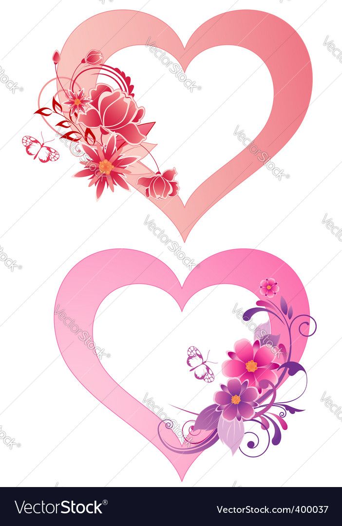 Hearts with flowers vector image