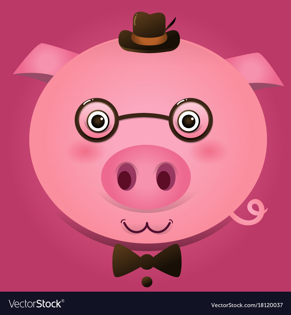Image of a pig head on pink background vector image