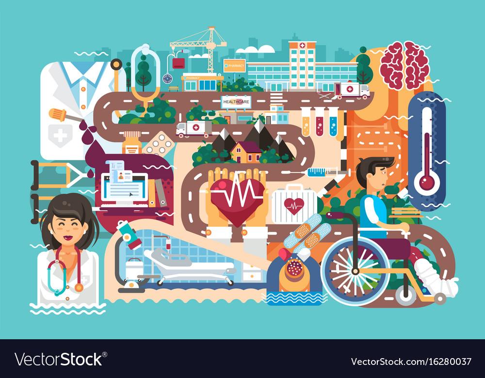 Medicine health care of vector image