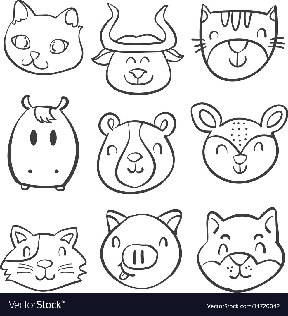Animal head style hand draw doodles vector image