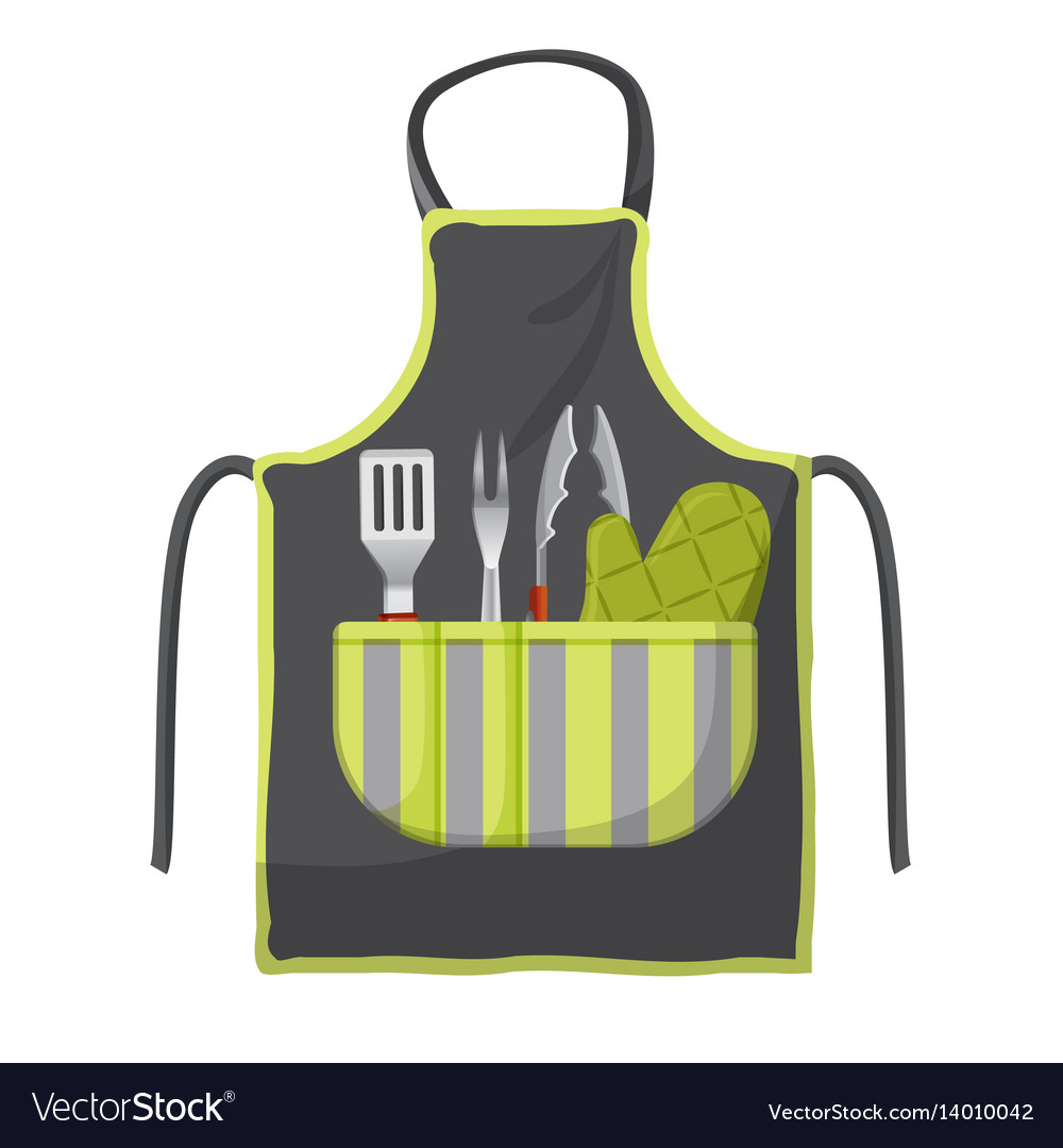 Black apron with various accessories in pocket for vector image