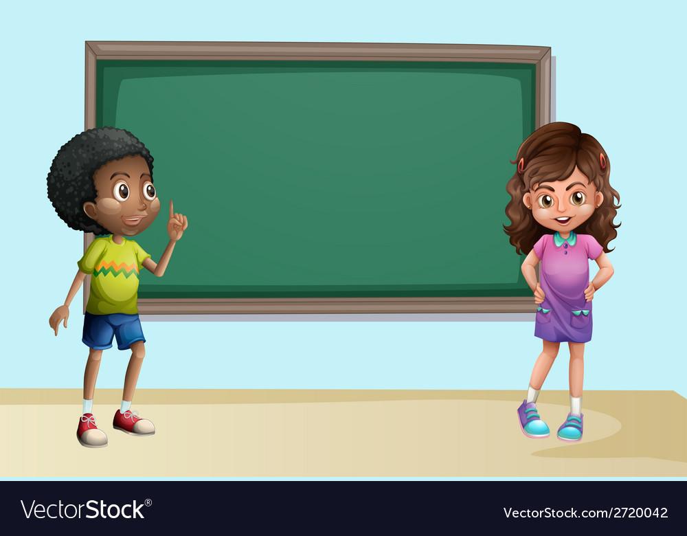 Children in classroom vector image