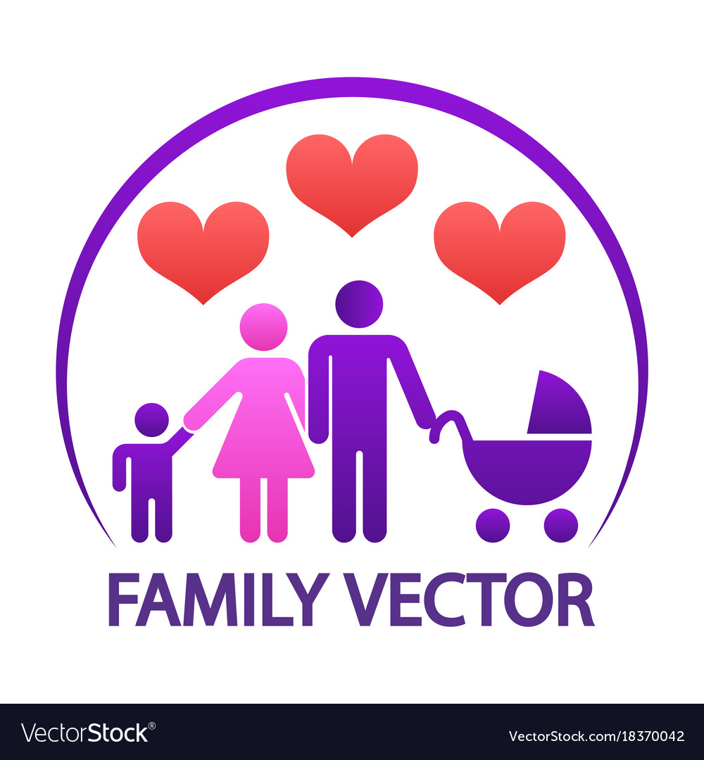 Colorful happy family logo - parents with child