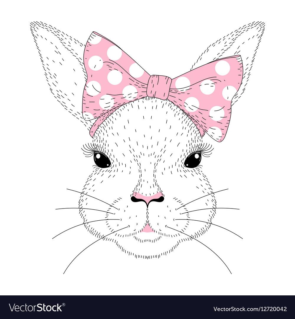 Cute bunny portrait Hand drawn rabbit girl face