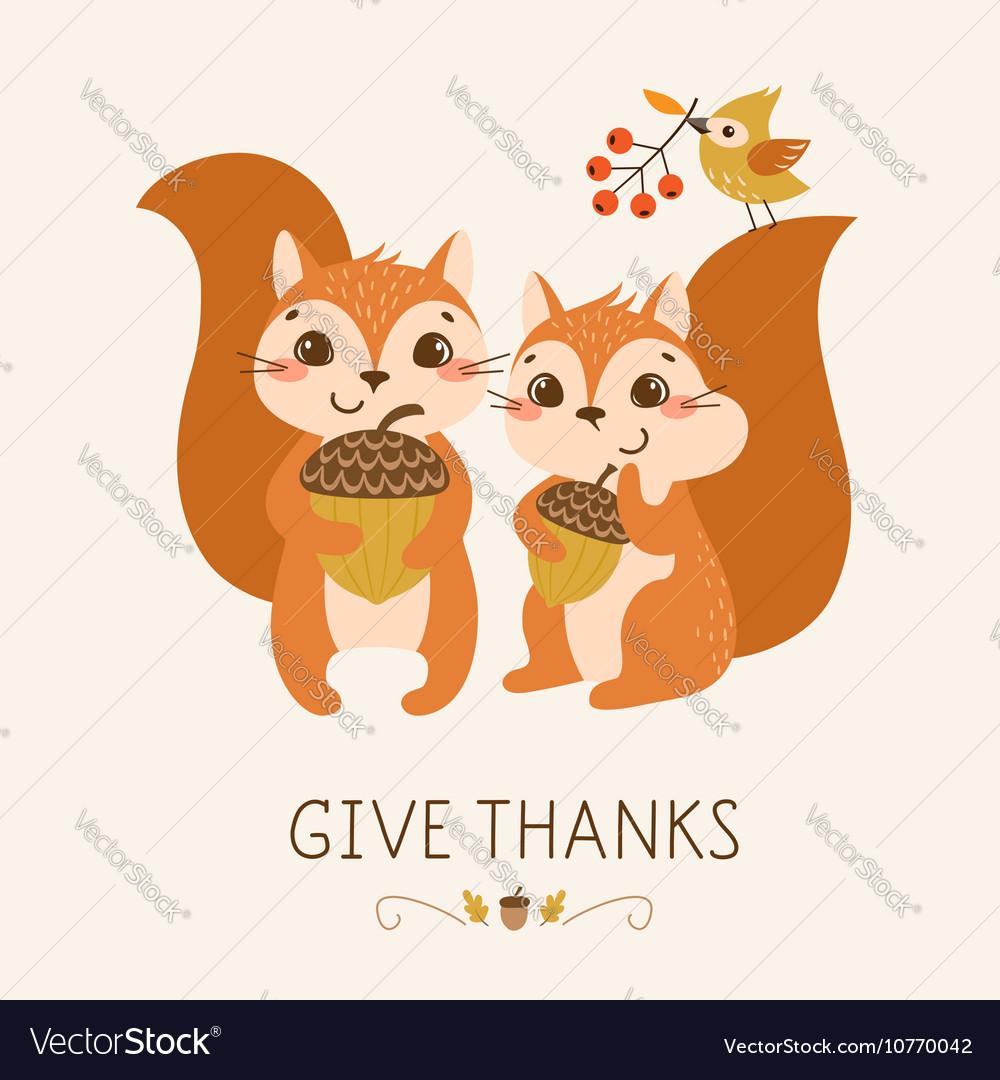 Cute Thanksgiving squirrels
