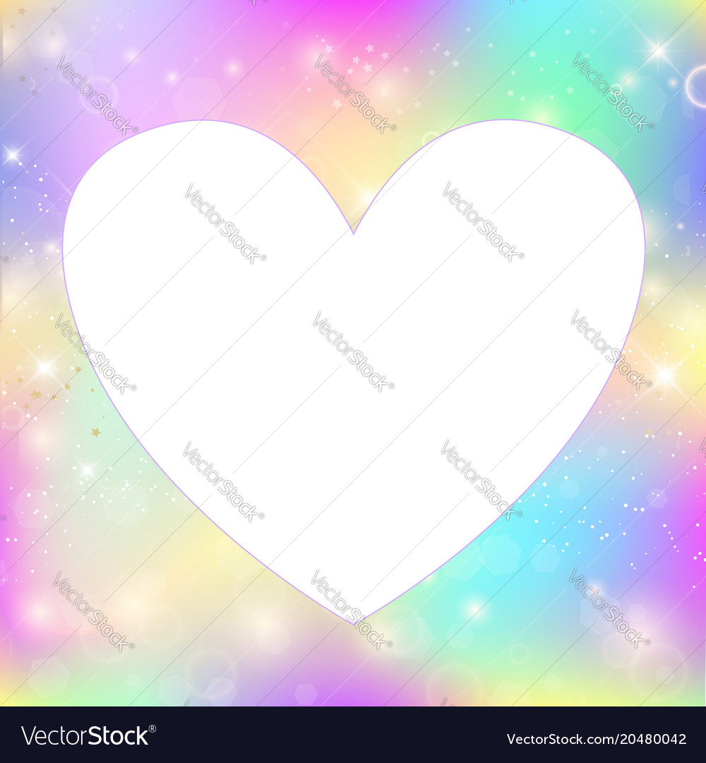 Heart frame magic background with rainbow mesh Vector Image